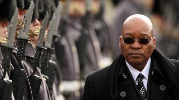 President Jacob Zuma at a ceremonial welcome in London on March 3, 2010.