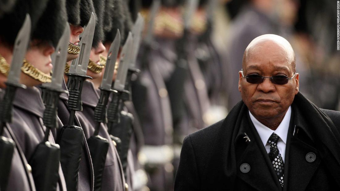 Zuma inspects the troops at a ceremonial welcome in London in March 2010.