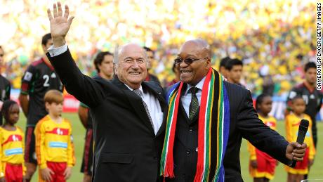 Zuma (R) with then-FIFA President Sepp Blatter (L) at the 2010 World Cup in Johannesburg.