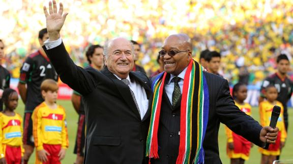 Zuma and FIFA President Sepp Blatter address the crowd before the opening match of the 2010 World Cup. South Africa was the first African country to host the tournament.