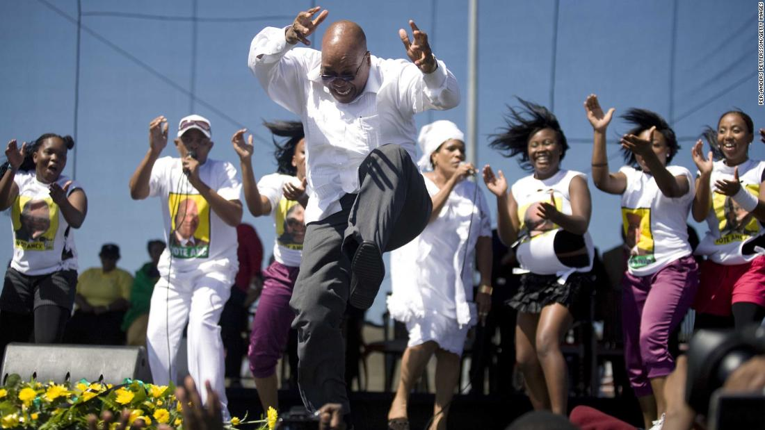 Zuma sings and dances after a speech at a rally in February 2009. Zuma was elected as South Africa's President a couple of months later.