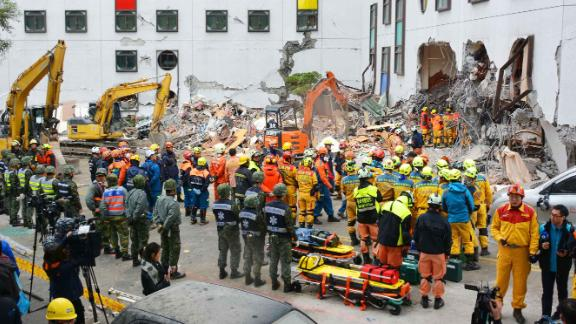 Search-and-rescue teams look for survivors in Hualien.