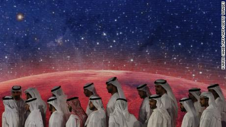 United Arab Emirates (UAE) officials, engineers and scientists take part in a ceremony to unveil UAE's Mars Mission in 2015.