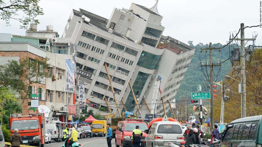 The Yun Tsui building is propped up after the quake.