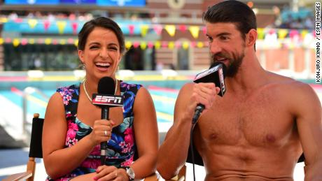 Arlen and Michael Phelps report during the 2015 Special Olympics World Summer Games.