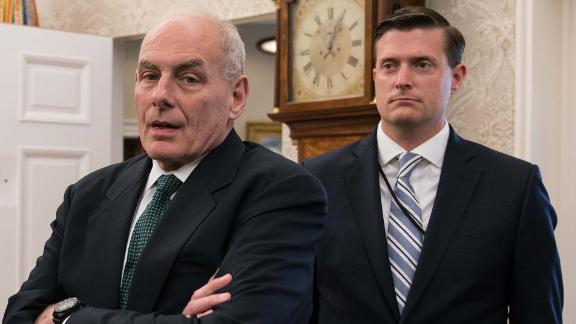 White House chief of staff ,John Kelly, left, and White House staff  secretary, Rob Porter.