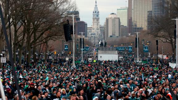 Fans line Benjamin Franklin Parkway before a Super Bowl victory parade for the Philadelphia Eagles football team, Thursday, Feb. 8, 2018, in Philadelphia. The Eagles beat the New England Patriots 41-33 in Super Bowl 52. (AP Photo/Alex Brandon)