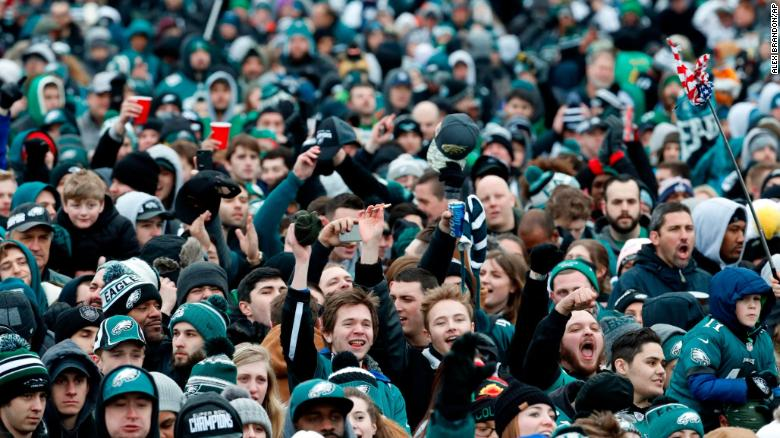 Fans cheer Thursday as they watch a replay of Super Bowl LII in front of the Philadelphia Museum of Art.