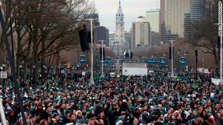 Fans line Benjamin Franklin Parkway before a Super Bowl victory parade for  the Philadelphia Eagles football 465992722