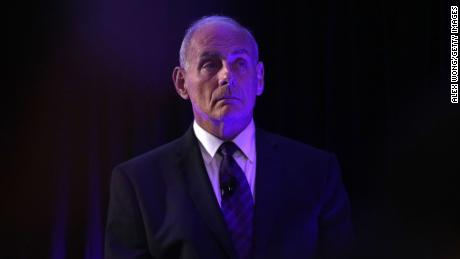 "WASHINGTON, DC - JUNE 28:  U.S. Secretary of Homeland Security John Kelly waits to be introduced prior to his address to the Center for a New American Security ""2017 Navigating the Divide Conference"" June 28, 2017 in Washington, DC."