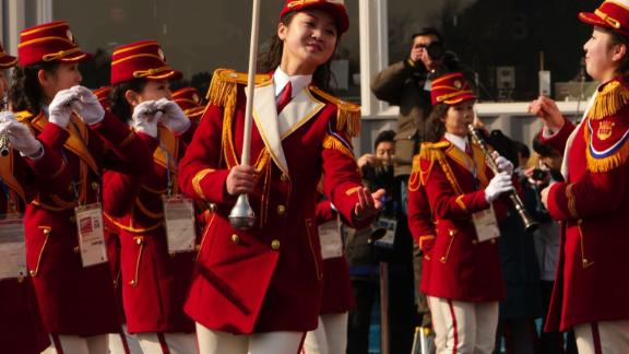 North Korean musicians take part in a welcoming ceremony for the country's Olympic team in Pyeongchang, South Korea.