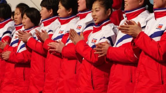 North Korean athletes applaud during a welcoming ceremony for the country's Olympic team in Pyeongchang, South Korea.