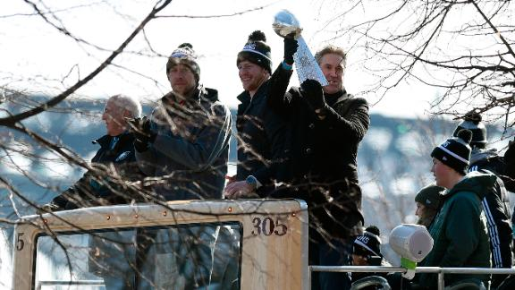 Philadelphia Eagles head coach Doug Pederson holds up the Vince Lombardi Trophy during Thursday's Super Bowl LII victory parade in Philadelphia.