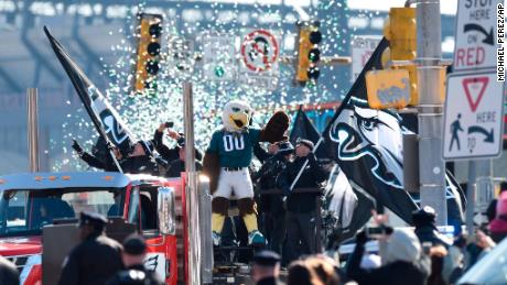Philadelphia Eagles team mascot Swoop waves Thursday during the Super Bowl LII victory parade.