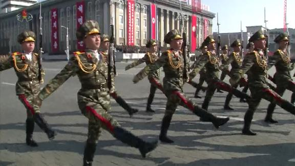 Soldiers marching in unison at a Pyongyang military parade, February 8.