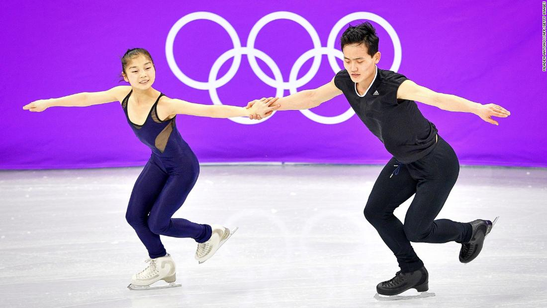 Ryom Tae Ok (L) and Kim Ju Sik of North Korea practice at the Gangneung Ice Arena on February 8, 2018, ahead of the pairs figure skating competition of the Pyeongchang 2018 Winter Olympic Games.