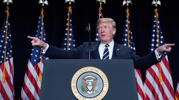 US President Donald Trump speaks at the National Prayer Breakfast at a hotel in Washington, DC on February 8, 2018. (MANDEL NGAN/AFP/Getty Images)