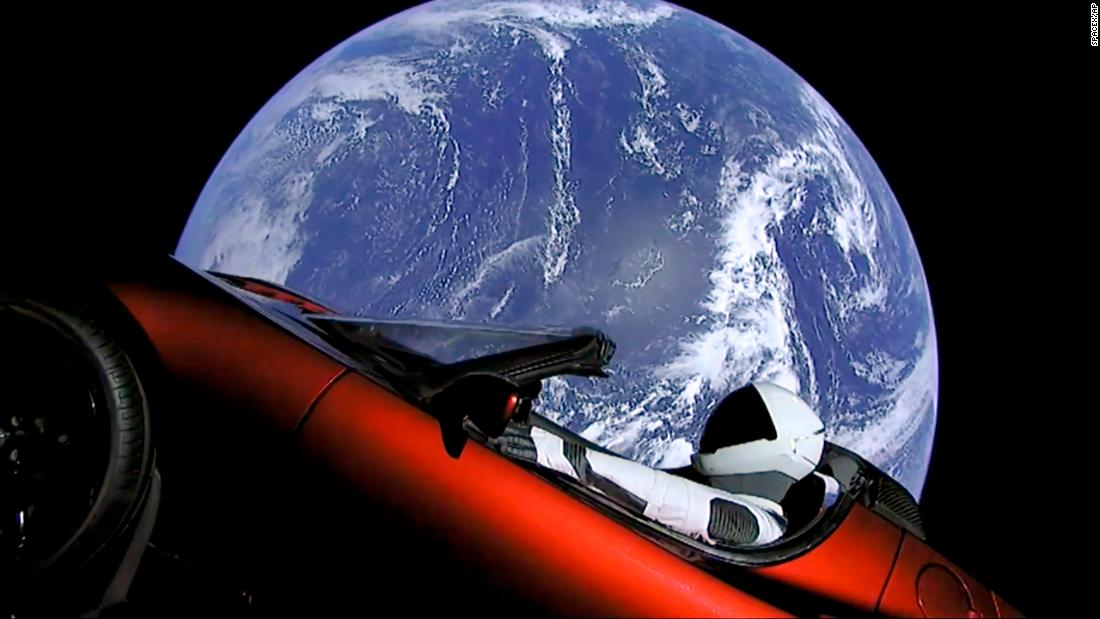 "A dummy in a space suit is seen behind the wheel of Elon Musk's red Tesla sports car as it floats in space on Tuesday, February 6. Musk's pioneering rocket firm, SpaceX, carried out what appears to be a seamless <a href=""http://money.cnn.com/2018/02/06/technology/future/spacex-falcon-heavy-launch-mainbar/index.html"" target=""_blank"">first launch of its massive new rocket</a>, called Falcon Heavy, which took flight Tuesday from Kennedy Space Center in Florida. Falcon Heavy is the world's most powerful rocket."
