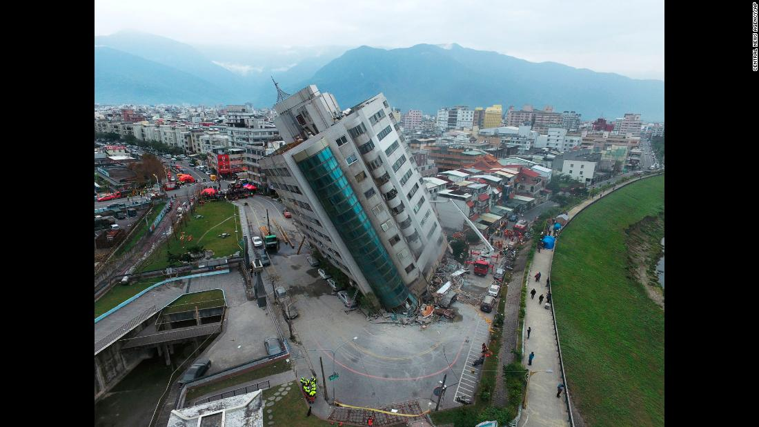 "A residential building leans after <a href=""http://www.cnn.com/2018/02/07/asia/taiwan-earthquake-hualien-intl/index.html"" target=""_blank"">an earthquake in Hualien, southern Taiwan</a>, on Wednesday, February 7. At least nine people were killed and 270 injured when the magnitude-6.4 quake struck late Tuesday, February 6, 22 kilometers (13 miles) north of the city of Hualien, authorities said. It also damaged bridges and buckled roads in and around Hualien."