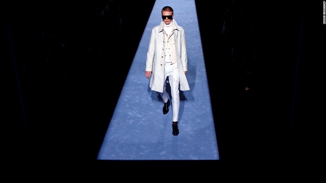 A model walks the runway in the Tom Ford show during Men's Fashion Week in New York on Tuesday, February 6.