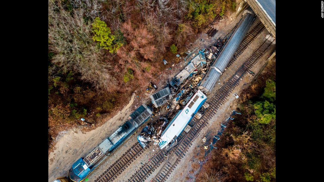 "An aerial view shows the site of an early morning train crash in Cayce, South Carolina, on Sunday, February 4. An Amtrak passenger train was mistakenly diverted to a side track and <a href=""http://www.cnn.com/2018/02/04/us/amtrak-south-carolina-crash/index.html"" target=""_blank"">crashed into an unmanned freight train</a>, killing two Amtrak employees and injuring 116 people, federal officials said."