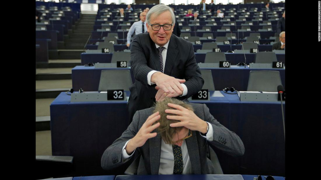 President of the European Commission Jean-Claude Juncker jokes with Guy Verhofstadt, the European Union's chief Brexit negotiator, ahead of a debate on the future of Europe at the Parliament in Strasbourg, France, on Tuesday, February 6.