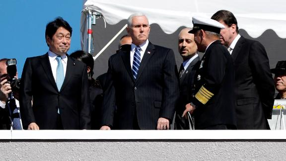 U.S. Vice President Mike Pence inspects a PAC-3 interceptor missile system with Japanese Defense Minister Itsunori Onodera in Tokyo.
