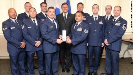 The pararescuemen of the 106th Rescue Wing assigned to the New York Air National Guard, are awarded the Slovenian Medal for Merit in the military field by the President Borut Pahor of Slovenia May 21, 2017. (U.S. Air National Guard Photo by Captain Michael O'Hagan)