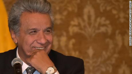Ecuadorean President Lenin Moreno smiles during a meeting with the press at Carondelet Palace in Quito, on October 4, 2017. Ecuador's vice president, Jorge Glas, was ordered locked up on October 2 pending a criminal investigation into allegations he took $16 million in bribes from Odebrecht, a Brazilian construction giant that paid illegal kickbacks to win public contracts. / AFP PHOTO / Rodrigo BUENDIA        (Photo credit should read RODRIGO BUENDIA/AFP/Getty Images)