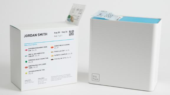 PillPack is a service designed to assist people in managing their medication routines. It presorts and organizes medication into pouches labeled with the scheduled days and times, which helps the user avoid taking incorrect dosages -- or forgetting their medicine. PillPack coordinates any changes in medication with the user's doctor and delivers a new supply every month.