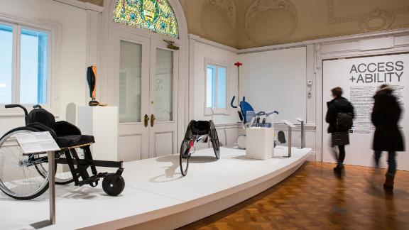 """Visitors view the """"Access+Ability"""" exhibition at New York's Cooper Hewitt, Smithsonian Museum running until September 3, 2018."""