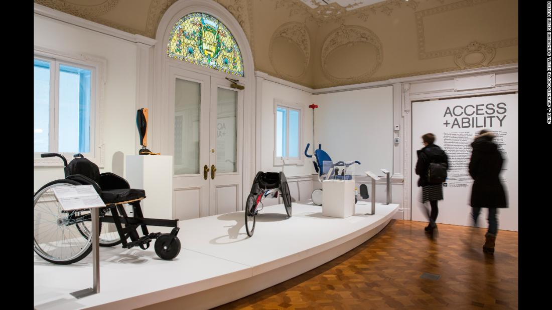 "Visitors view the ""Access+Ability"" exhibition at New York's Cooper Hewitt, Smithsonian Museum running until September 3, 2018."