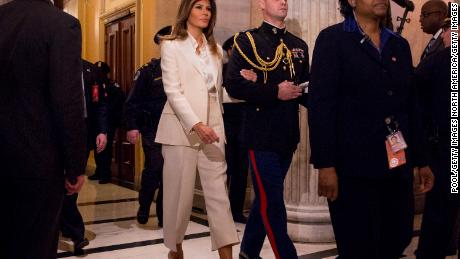 First lady Melania, in white after the State of the Union Address.