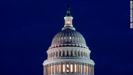The US Capitol Building is seen at dusk in Washington, DC, February 6, 2018, as lawmakers work to avert a government shutdown later this week. Congressional leaders said Tuesday they were close to a budget deal that would keep the US government open -- despite President Donald Trump calling for a shutdown if he does not get his way on immigration. / AFP PHOTO / SAUL LOEB        (Photo credit should read SAUL LOEB/AFP/Getty Images)