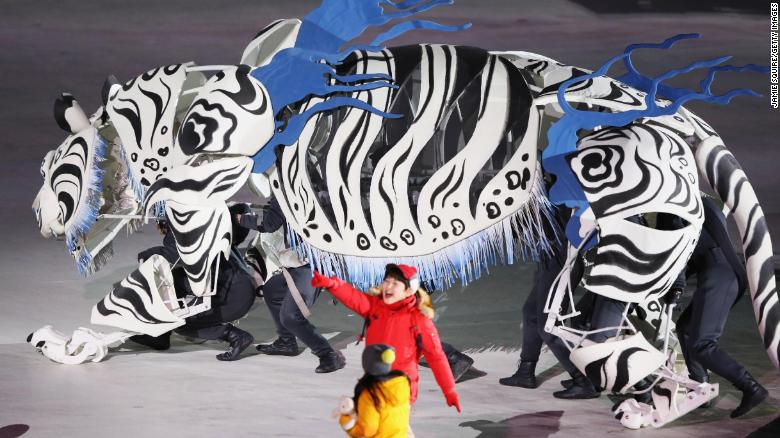 Soohrang, the white tiger, played a starring role in the opening ceremony.