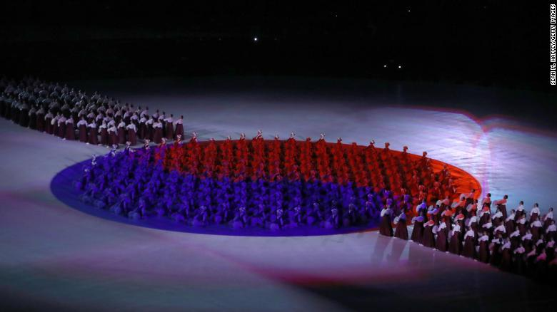 "The South Korean flag ""Taegeukgi"" is seen during the Opening Ceremony of the PyeongChang."