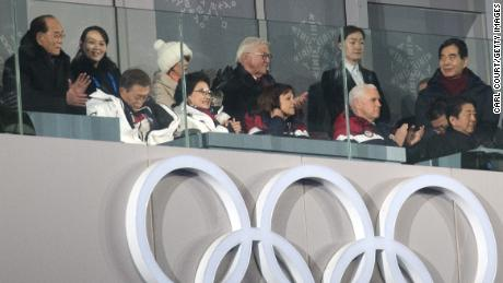 PYEONGCHANG, SOUTH KOREA - FEBRUARY 09:  United States Vice President Vice President Mike Pence (front row, 2-R) watches the opening ceremony of the PyeongChang Winter Olympics along with Kim Yo-jong, the sister of North Korean leader Kim Jong-Un (back row, 1-L), Kim Yong Nam, North Korea's ceremonial head of state (top row-L), Japanese Prime Minister Shinzo Abe (front row 1-R) and South Korean president Moon Jae-in (front row-L) on February 9, 2018 in PyeongChang, South Korea.