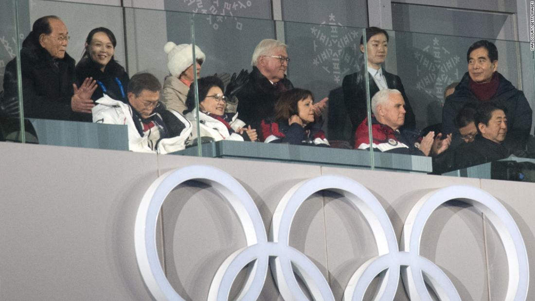 US Vice President Vice President Mike Pence watches the Winter Olympics Opening Ceremony with others, including Kim Yo Jong, the sister of North Korean leader Kim Jong Un.