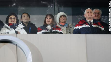 US Vice President Mike Pence (front R), his wife Karen (front C), North Korea's leader Kim Jong Un's sister Kim Yo Jong (2nd L) and Kim Jung-Sook (L), the wife of South Korea's President Moon Jae-in, attend the opening ceremony of the Pyeongchang 2018 Winter Olympic Games at the Pyeongchang Stadium on February 9, 2018.