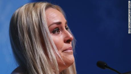 PYEONGCHANG-GUN, SOUTH KOREA - FEBRUARY 09:  United States alpine skier Lindsey Vonn reacts during her press conference at the Main Press Centre during previews ahead of the PyeongChang 2018 Winter Olympic Games on February 9, 2018 in Pyeongchang-gun, South Korea.  (Photo by Ker Robertson/Getty Images)