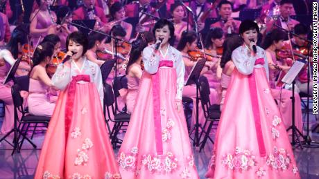 North Korea's Samjiyon Orchestra performs on February 8, 2018, in Gangneung, South Korea.