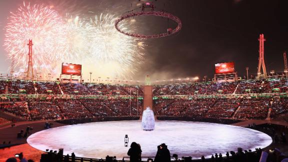 Fireworks explode as the opening ceremony begins.