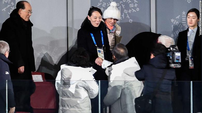 The sister of North Korean leader Kim Jong Un, Kim Yo Jong, center, shakes hands Friday with South Korean President Moon Jae-in during the Opening Ceremony of the Pyeongchang 2018 Winter Olympic Games.