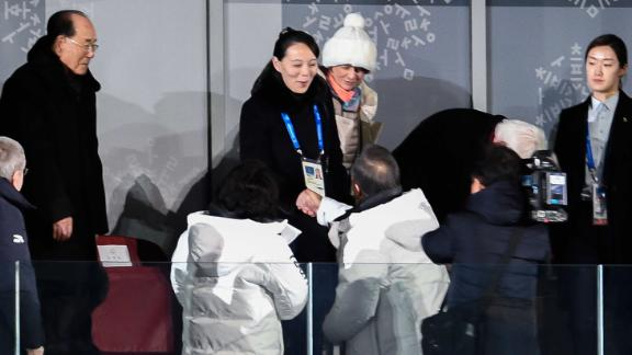 North Korea's Kim Jong Uns sister Kim Yo Jong (C) shakes hand with South Korea's President Moon Jae-in during the opening ceremony of the Pyeongchang 2018 Winter Olympic Games at the Pyeongchang Stadium on February 9, 2018. / AFP PHOTO / Martin BUREAU        (Photo credit should read MARTIN BUREAU/AFP/Getty Images)