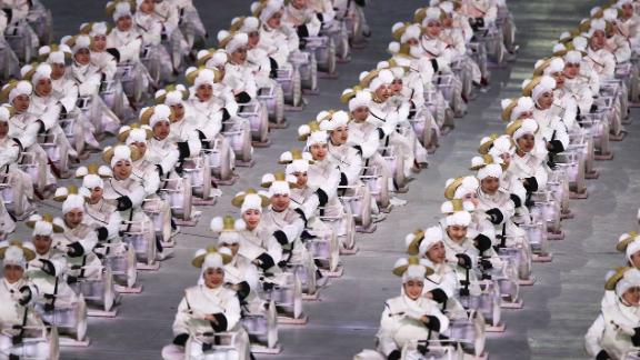 Drummers are lined up during the performance.