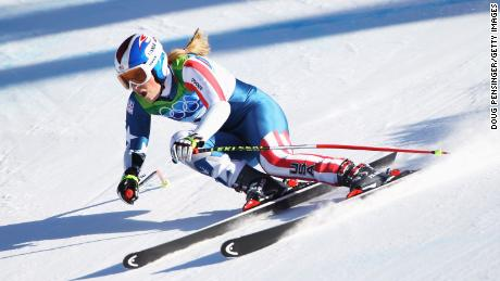 WHISTLER, BC - FEBRUARY 20:  Bronze medalist Lindsey Vonn of the United States competes in the women's alpine skiing Super-G on day nine of the Vancouver 2010 Winter Olympics at Whistler Creekside on February 20, 2010 in Whistler, Canada.  (Photo by Doug Pensinger/Getty Images)
