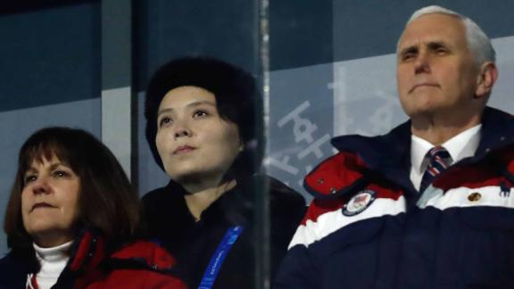 US Vice President Mike Pence (R), North Korea's Kim Jong Uns sister Kim Yo Jong (C) and wife of US Vice President Karen Pence attend the opening ceremony of the Pyeongchang 2018 Winter Olympic Games at the Pyeongchang Stadium on February 9, 2018. / AFP PHOTO / Odd ANDERSEN        (Photo credit should read ODD ANDERSEN/AFP/Getty Images)