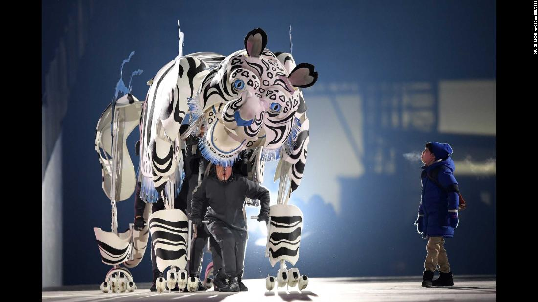 "A white tiger is portrayed at the beginning of the ceremony. The tiger is ""closely associated with Korean mythology and culture"" and is a ""familiar figure in Korean folk tales as a symbol of trust, strength and protection,"" according to the Games website."