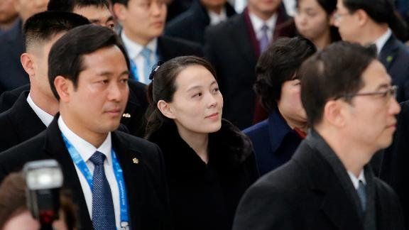 Kim Yo Jong, North Korean leader Kim Jong Un's sister, arrives at the Incheon International Airport in South Korea on Friday.