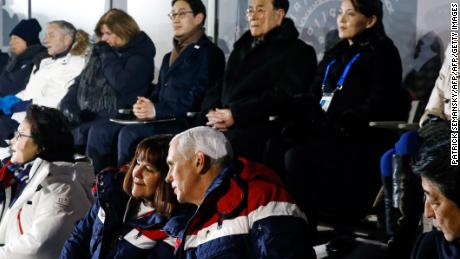 TOPSHOT - Japan's Prime Minister Shinzo Abe (front R) sits beside US Vice President Mike Pence (front 2nd R) and Pence's wife Karen as they watch the opening ceremony of the Pyeongchang 2018 Winter Olympic Games with North Korea's ceremonial head of state Kim Yong Nam (back 2nd R) and North Korea's Kim Jong Uns sister Kim Yo Jong (back R) at the Pyeongchang Stadium on February 9, 2018. / AFP PHOTO / POOL / Patrick SemanskyPATRICK SEMANSKY/AFP/Getty Images